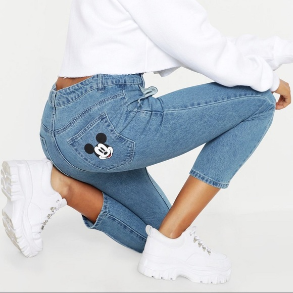 Disney Mickey Mouse Graphic Denim Mom Jeans NWT